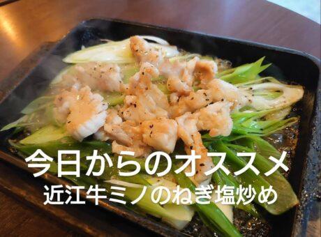 特性塩ダレ+レモンでさっぱり【近江牛ミノのねぎ塩炒め】